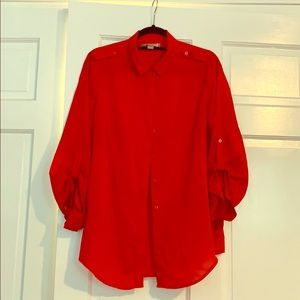 Forever 21 Blood Orange Button Down Tunic